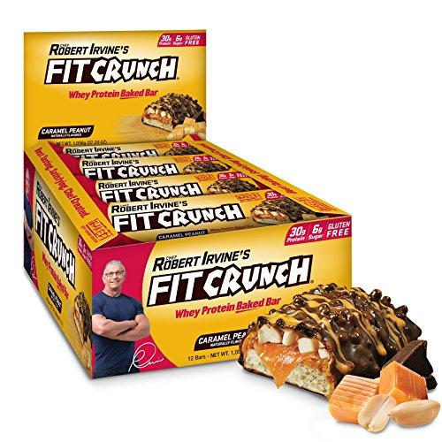 FITCRUNCH Protein Bars, Designed by Robert Irvine, Protein Bar, Gluten Free, Award Winning Taste, Whey Protein Isolate, Low Sugar 12 Bars, Caramel Peanut