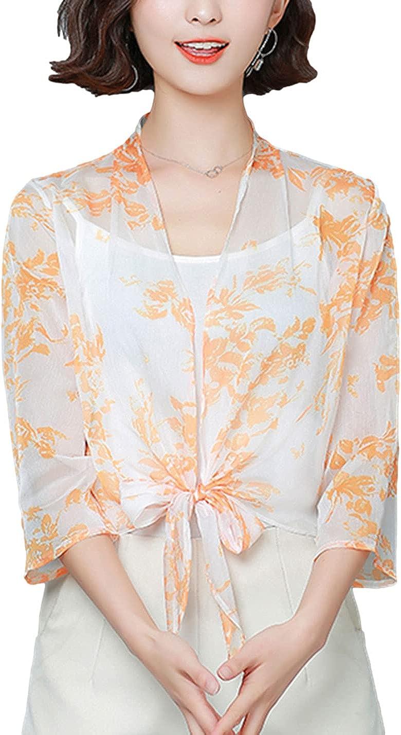 AMEBELLE Women's 3/4 Sleeve Open Front Cardigan Tie Front Floral Sheer Crop Shrugs
