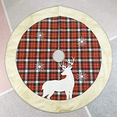 Proumhang Falda de árbol de Navidad a Cuadros y Reno en Negro...