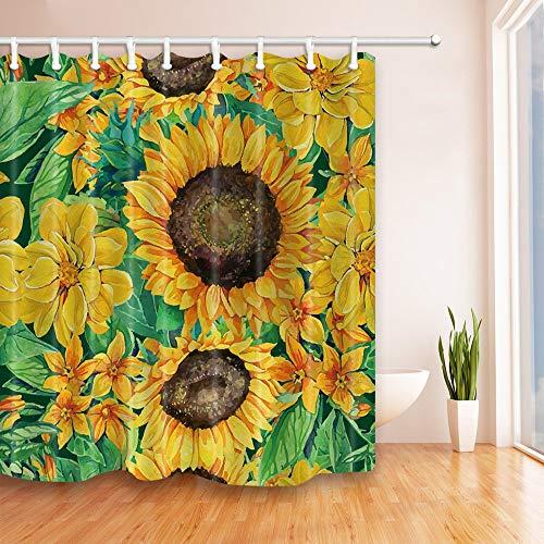 GoHEBE Peinture Tournesol Rideau de douche 180,3 x 180,3 cm Tissu Polyester résistant à la moisissure de salle de bain Fantastique Décorations de bain Rideaux Crochets inclus