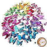 Imbry 72 Stück 3D Schmetterling Aufkleber Wandsticker