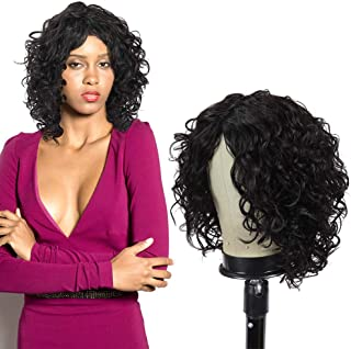 Dressmaker Short Deep Curly 100% Brazilian Virgin Human Hair Wigs for Women Middle Part Non Lace Front Wigs Natural Hairli...