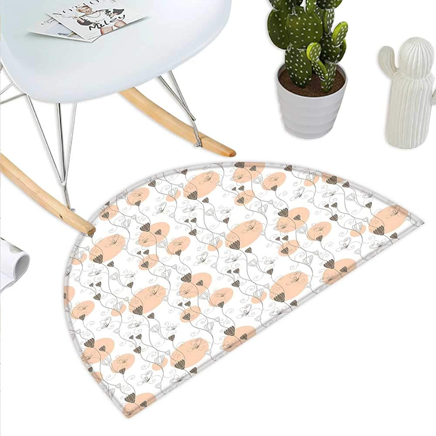 Floral Semicircle Doormat Abstract Flourishing Wildflowers with Petals and Stalks on Dotted Background Halfmoon doormats H 27.5  xD 41.3  Peach Umber White