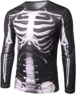 Mens 2017 Halloween Fashion Long Sleeve 3D Skeleton Print T Shirt Round Neck Blouse Top