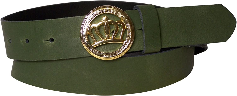 FRONHOFER Women's genuine leather belt, gold crown buckle, real leather 1.2' 3cm, Size waist size 43.5 IN XL EU 110 cm, color Khaki