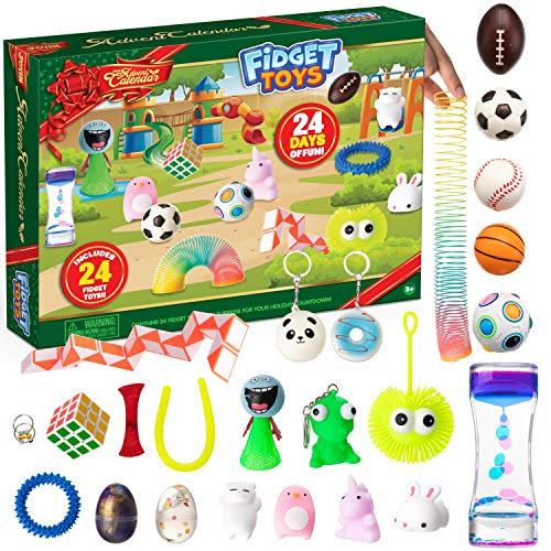 Christmas 24 Days Countdown Advent Calendar with 24 Pressure-Relief Toys with Mochi Squishy, Slime, Keychain and other Assorted Fidget Toys for Boys, Girls, Kids and Toddlers Xmas Party Favor Gifts