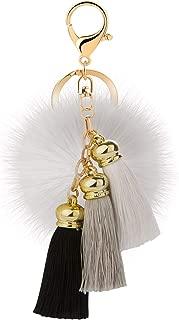 Rabbit Ball Keychain with Gradual Color Tassels Keyring GJ007