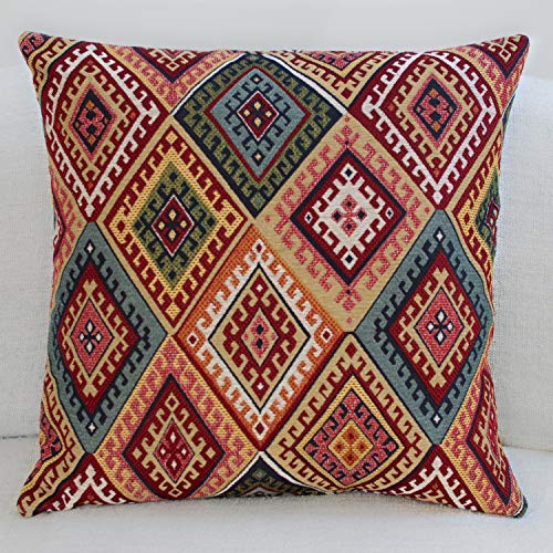 Linen Loft Extra Large Traditional Turkish Kilim Style Cushion Cover. 23' x 23' Square Cover. Heavyweight Woven Kilim Fabric Diamond Ikat Pattern.