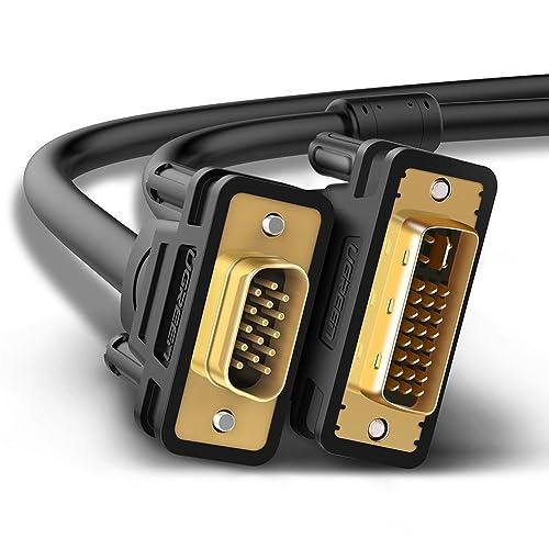 UGREEN Câble DVI VGA, Câble DVI I 24 5 vers VGA 15 Broches Mâle à Mâle Support 1080P, Plaqué Or (3M)