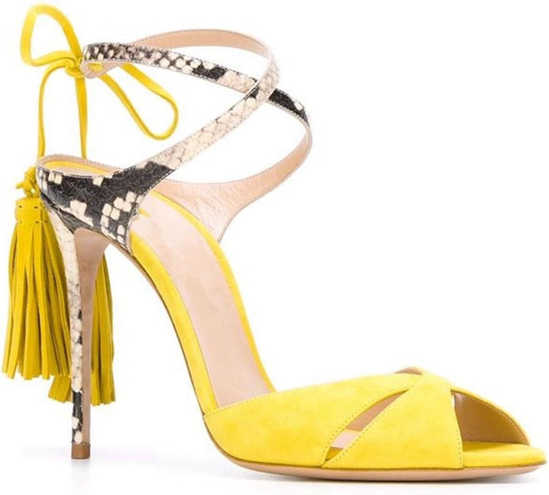 Miyoopark LS 0602 Women's Tassel Sude Formal Dress Sandals