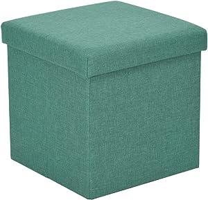 Coffre de Rangement Pliable Pouf Repose-Pieds Boîte à Organisateur Pliable Grande boîte de Rangement avec Couvercle en Tissu Cube de Rangement en Tissu Organisateur Vert 38 * 38 * 38cm
