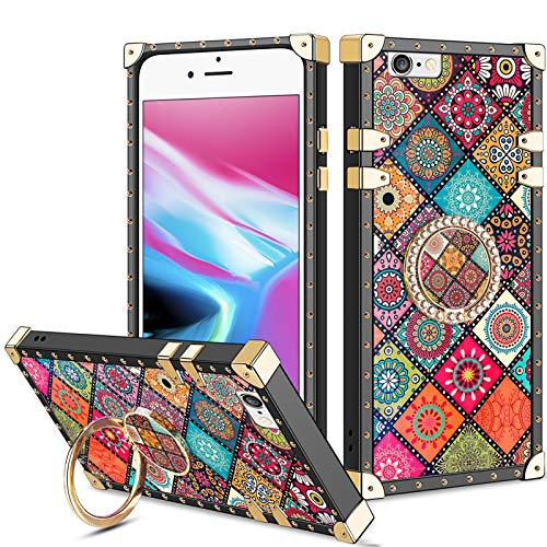 Vofolen for iPhone 6S Case iPhone 6 Case Ring Holder Kickstand Exotic Colorful Square Protective Soft Shell Rotational Fold-able Clip Anti-Slip Finger Loop Cover for iPhone 6 6s 4.7 (Mandala Flower)