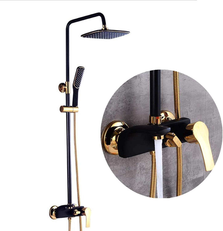 DDL Bathroom Shower System Set, European White gold-plated Shower Set Copper Shower Kit, Antique European Adjustable High And Low Faucet Shower,Black