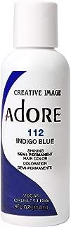 Adore Semi-Permanent Haircolor #112 Indigo Blue 4 Ounce (118ml) (2 Pack)