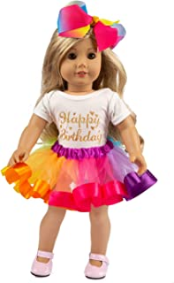 ZITA ELEMENT American Doll Clothes and Accessories for 18 Inch Girl Doll Outfits - 1 Rainbow Tutu Skirt, 1 Shirt and 1 Bow Hair Clip for 16 Inch - 18 Inch Doll - Best Birthday Gift for Kids