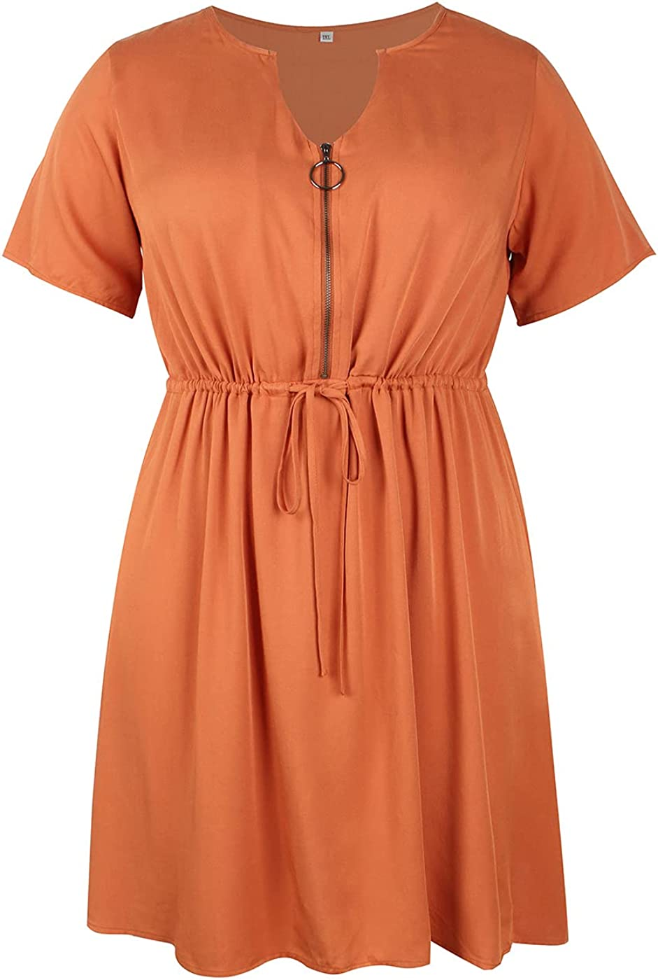 SKISS Women's Plus Size Short Sleeve V Neck Casual Dress with tie Belt