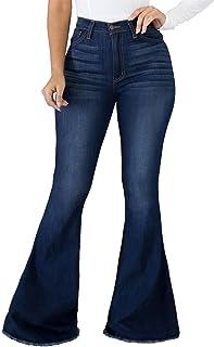 Women Bell Bottom Jeans Elastic Waist Ripped Flared Jean...