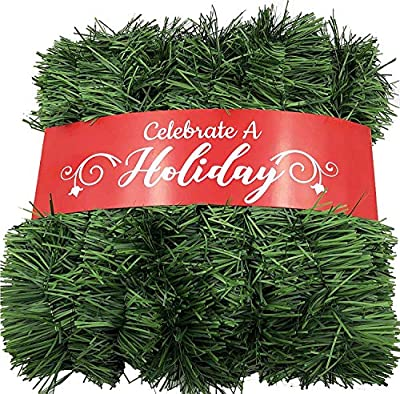 50 Foot Garland for Christmas Decorations - Non-Lit Soft Green Holiday Decor for Outdoor or Indoor Use - Premium Quality Home Garden Artificial Greenery, or Wedding Party Decorations
