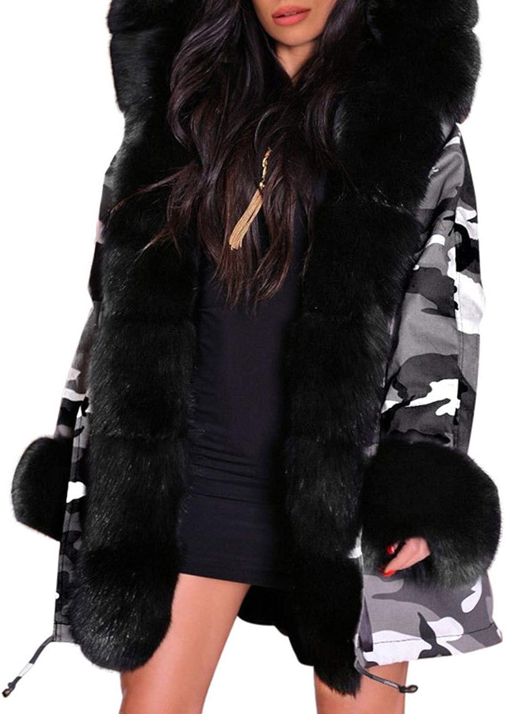 Hyling Women's Thicken Warm Winter Coat Hooded Faux Fur Parka Overcoat Casual Long Jacket Outwear with Pockets