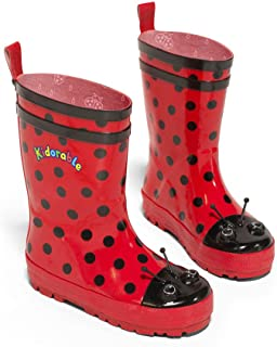 Kidorable Ladybug Rainboots, Red & Black Dots, Big Kids Size 5 M US, Natural Rubber Boots with Cotton Lining, Pull On Heel Tab & Non-Slip Sole