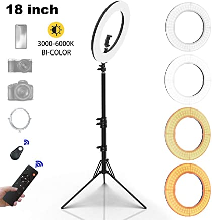 "INKELTECH Ring Light - 18""/46cm Outer 60W Dimmable LED Ring Light Kit with Stand - Adjustable 3000K-6000K Color Temperature Lighting - Makeup, Photography, YouTube, Camera, Video - Control with Remote"