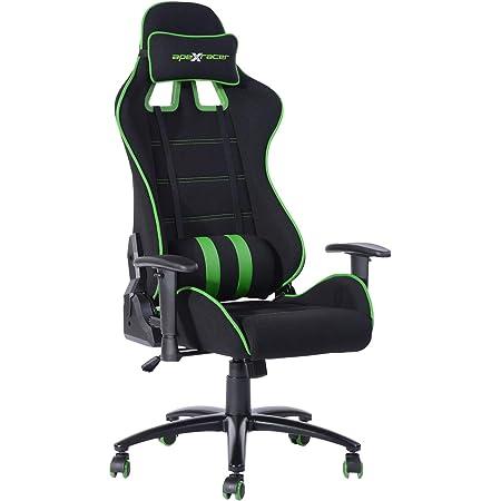 FurnitureR Silla ergonómica para juegos Silla ajustable para jugadores de deportes electrónicos, silla para videojuegos para adultos, silla de oficina ejecutiva de respaldo alto de malla transpirable de gran tamaño con reposacabezas y soporte lumbar Verde
