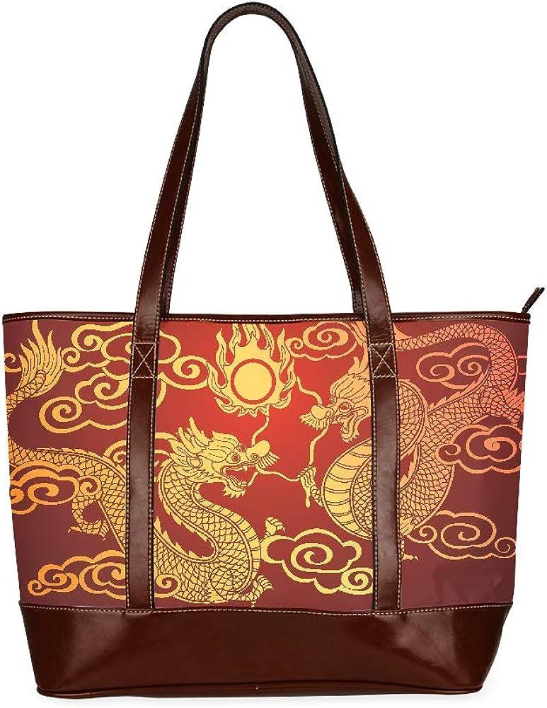 Illustration Traditional Chinese Dragon Vector Illustration Womans Handbags Handbags Large Capacity Printed Shoulders Bag With Zipper Top-handle