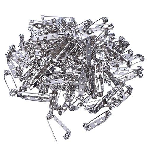 Generic Safety Pins WedDecor-Broche de 25 mm, color plateado con cierre de seguridad para joyería, manualidades, insignias, 100 unidades, acero inoxidable, 1