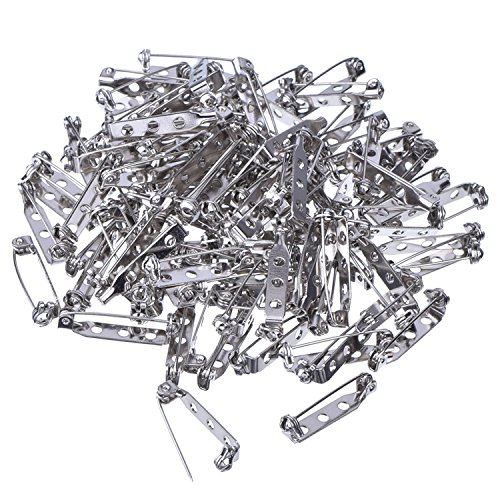 Generic Weddecor 25mm Silver Tone Brooch Pins with Back Bar Safety Clasp Locking for Jewellery Making, Crafts, Badges, 100pcs, Stainless Steel, 1 Inch