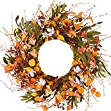 WANNA-CUL 24 inch Blossom Silk Fall Wreath for Front Door with Hydrangea Floral,Cotton, Pine Cone,Berries, Eucalyptus and Olive Leaves, Harvest Door Wreath for Fall and Thanksgiving Decorations