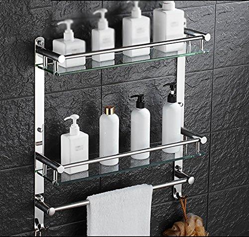 Bathroom Rack YSJ Salle de Bains Verre rectangulaire étagère Murale Verre trempé Extra épais, Section Lumineuse (Taille : 41 * 12 * 56cm)
