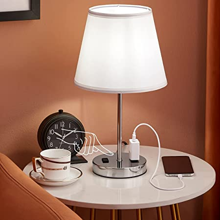 Innqoo Nightstand Lamp for Bedroom - 3-Way Dimmable Touch Lamp with LED Bulb and 2 AC Charging Outlets, Small Bedside Table Lamp for Living Room Table Top Nursery Room Guest's Room and Dorm, White