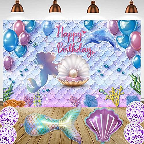 Telón de Fondo de Fiesta de Cumpleaños,Sirenita Bajo el Mar Telón de Fondo,Princesa Sirena Bandera de Fondo,Púrpura Azul Sirena Telón de Fondo,Fotomatón de Cumpleaños, 71 x 43.3 Pulgadas