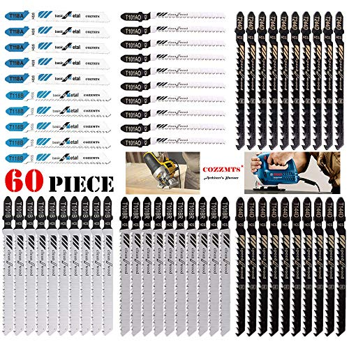 60PCS JigSaw Blades Set with Storage Blister Packs, Assorted T-Shank Jig saw Blades for Wood Plastic Metal Cutting, Replace 90% Hot Models Such as Bosch DEWALT BLACK DECKER and Rockwell BladeRunner X2