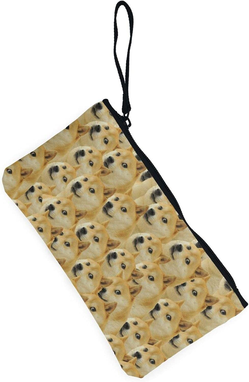 AORRUAM Funny dog face Canvas Coin Purse,Canvas Zipper Pencil Cases,Canvas Change Purse Pouch Mini Wallet Coin Bag