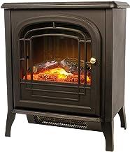 bakaji chimenea estufa electrica Mini con efecto Fuego A LED potencia 1800W chimenea con puerta Desmontable diseño Retro tamaño 51x 34x 58cm, Color Negro
