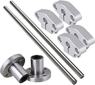 CNBTR Vertical 8mm Dia Round Flange Motion Bushing Bearing &200mm Linear Shaft Optical Axis with Rod Rail Support Set of 8