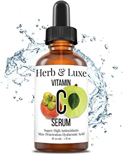 Vitamin C Serum, 100% Organic by Herb and Luxe Vitamin C from Natural Ingredients Only, Anti Aging Serum with Hyaluronic Acid for Face Body and Dark Circle Eye (1 Fl Oz)