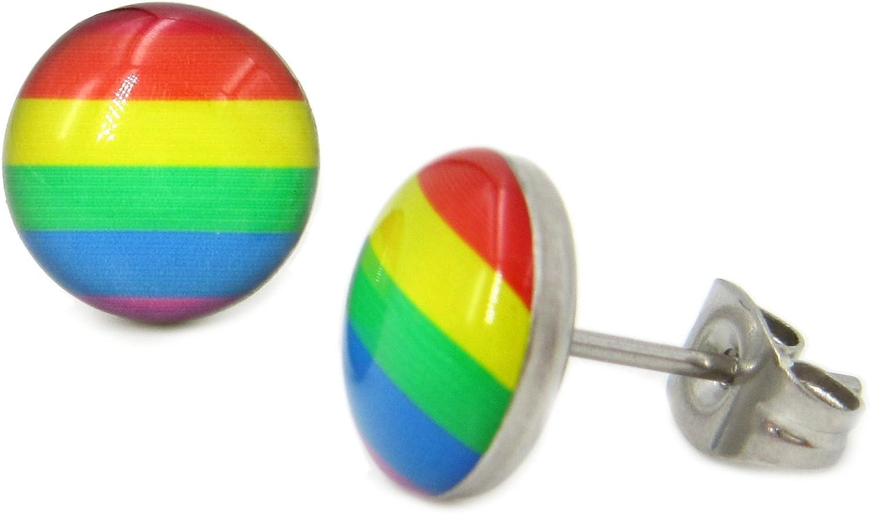Pair Stainless Steel Round Rainbow Gay Pride Post Stud Earrings 10mm