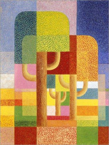 Posterlounge Leinwandbild 50 x 70 cm: Landschaft mit Bäumen. Um 1932 von Heinrich Hoerle/ARTOTHEK - fertiges Wandbild, Bild auf Keilrahmen, Fertigbild auf echter Leinwand, Leinwanddruck