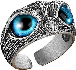 خمر العين البومة الدائري ، نمط الحيوان الرجعية فتح قابل للتعديل حلقة النحاس ، الهيب هوب مجوهرات هدايا للرجال والنساء