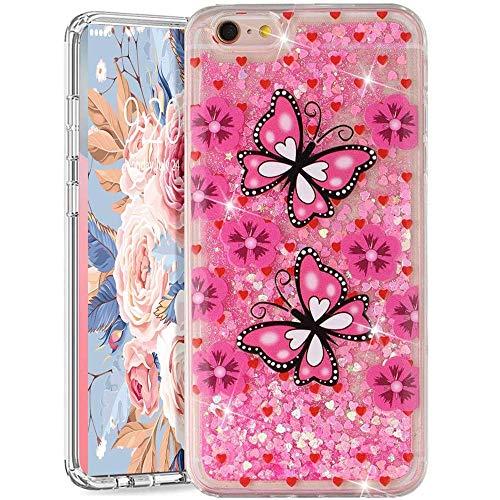 Funda para iPhone 6S Plus / 6 Plus, iPhone 6S Plus con purpurina arenas movedizas líquidas anticaída Flotantes Delgado Cristal Silicona Carcasa funda de silicona TPU para niñas mujeres,XY Die
