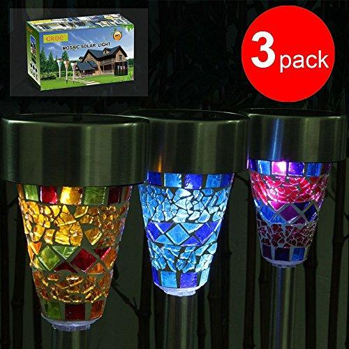 GRDE®, LED-lampen op zonne-energie, gekleurde tuinverlichting, zonnelampen buitenverlichting met mozaïekpatroon, hittebestendige LED-lampen voor buiten, tuin, decoratieve lampen (roze, blauw, oranje)