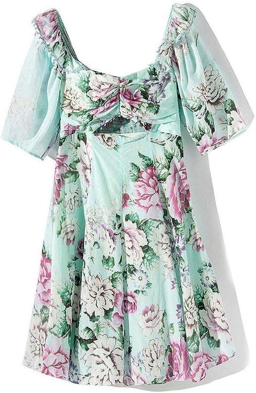 Women Dress Vintage Print Women Dress Square Collar High Waist Short Sleeve Hollow Out Dresses