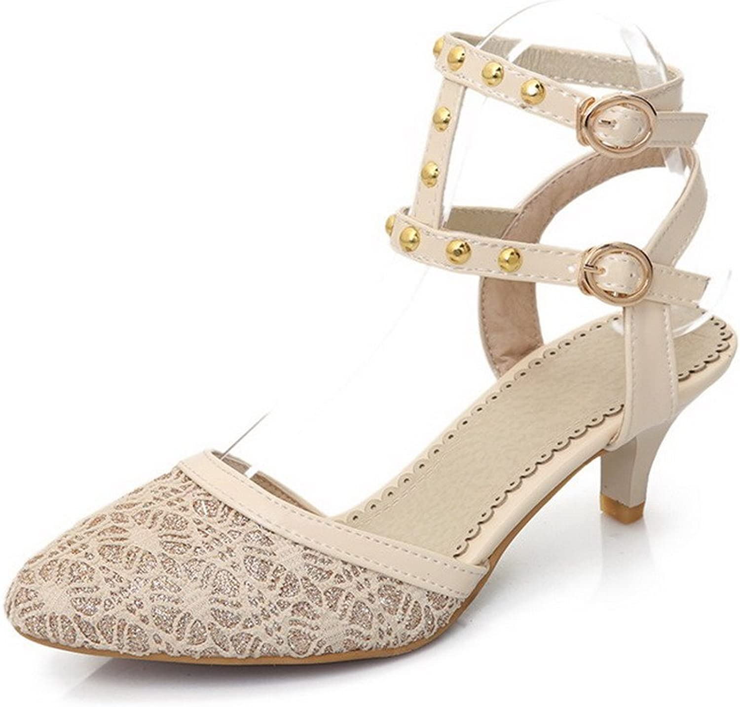AmoonyFashion Women's Blend Materials Solid Buckle Closed Toe Low Heels Sandals