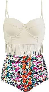 Retro High Waist Fringe Women's Bikini Set Strappy Push up Bathing Suit