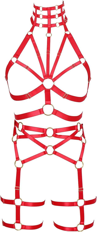 Full body harness for women Garter belt set Punk Plus size Bra Lingerie cage Gothic Chest strap Halloween Festival Rave