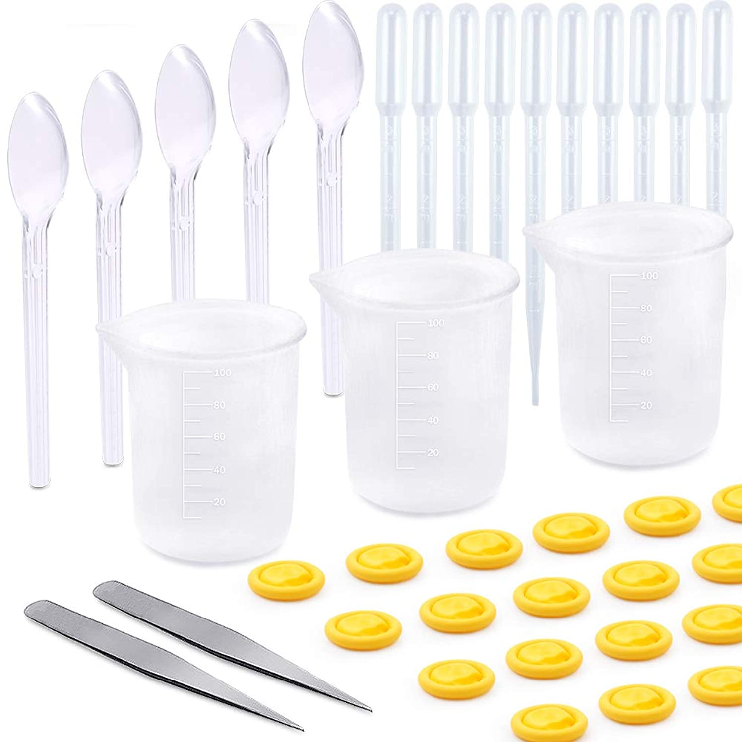 Sntieecr 50 Pieces Resin Cups Casting Tools Kit, Including 100ml Silicone Measuring Cups, Spoons, Dropping Pipettes, Tweezer and Finger Cots Gloves for Epoxy Resin, Casting Molds, DIY Art and Craft