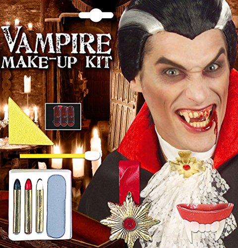 Karneval Klamotten Vampir Halloween Schmink Set mit Vampir-Zähne und Halskette