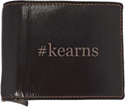 #kearns - Soft Hashtag Cowhide Genuine Engraved Bifold Leather Wallet